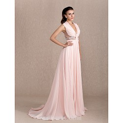 Australia Formal Dress Evening Gowns Pearl Pink Plus Sizes Dresses Petite A Line Princess Cowl Court Train Chiffon